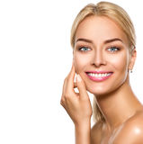 Beauty spa model girl touching face Royalty Free Stock Photo