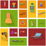 Beauty spa objects icon set flat design Stock Photography