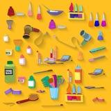 Beauty spa objects set flat design Stock Photo