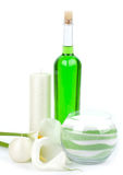 Beauty spa oils and salt with white callas Stock Photography