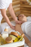 Beauty spa products in massage room Royalty Free Stock Photos