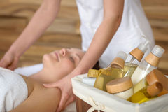 Beauty spa products in massage room. Woman enjoy treatment stock photos