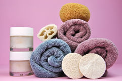 Beauty Spa Towels and Loofahs Stock Photos