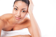 Beauty spa woman. A shot of a black woman lying down at a spa Stock Image