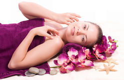 Beauty spa woman with flower Stock Images