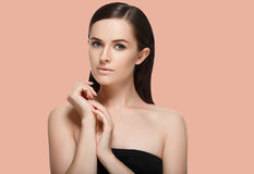 Beauty Spa Woman with perfect healthy face skin Portrait. Beauti Stock Photos