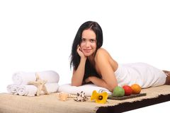 Beauty Spa Woman Portrait. Beautiful Girl Isolated Stock Image
