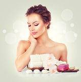 Beauty spa woman touching her skin Royalty Free Stock Photos