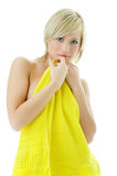 Beauty spa woman in yellow towel. On white background Stock Photos