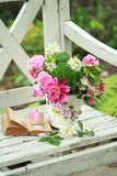 Beauty spring bouquet and book's for the teacher's day Royalty Free Stock Images