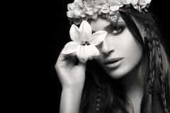 Beauty in Spring concept. Monochrome Portrait Royalty Free Stock Photos