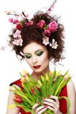 Beauty Spring Girl with Flowers Hair Style. Beautiful Model woma Stock Photos