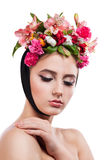 Beauty Spring Girl with Flowers Hair Style Stock Photography