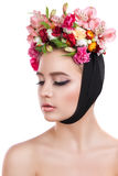 Beauty Spring Girl with Flowers Hair Style Stock Photos