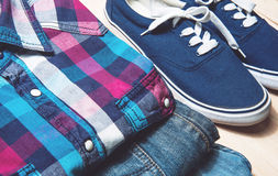 Beauty still life man tricks.casual clothes and accessories on wooden background Stock Images