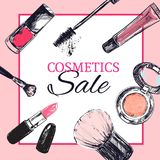 Beauty store banner with make up and Cosmetics objects. Beauty store banner with make up objects: lipstick, cream, brush. Template Vector. Hand drawn isolated Stock Image