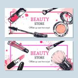 Beauty store banner with make up objects: lipstick, cream, brush. Template Vector. Hand drawn isolated objects. Cosmetics Stock Image