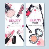 Beauty store banner with make up objects. Template Vector. Hand drawn isolated objects. Cosmetics. Beauty store banner with make up objects: lipstick, cream Royalty Free Stock Photo