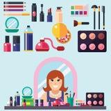 Beauty store. Cosmetics mascara gloss lipstick blush perfume and make-up brushes. Royalty Free Stock Image