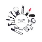 Beauty store emblem with type design and cosmetics. Beauty salon. Make up artist. Beauty store emblem with type design and cosmetics. Beauty salon. Make up Stock Photos