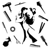 Beauty salon set with woman and tools Royalty Free Stock Images