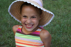 Beauty in straw hat 2 Stock Photos