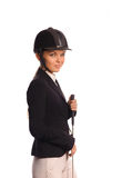 Beauty strict jockey with thin switch Royalty Free Stock Photography
