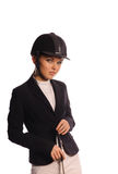 Beauty strict jockey with thin switch Stock Photo