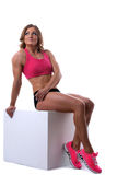Beauty strong woman with muscle body lay Stock Photo