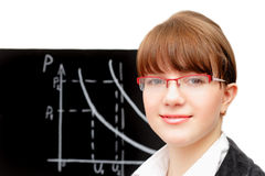 Beauty student and blackboard. Pretty student into glasses and blackboard against white background Stock Images