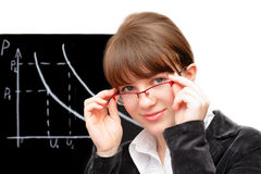 Beauty student and blackboard Royalty Free Stock Photo