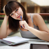 Beauty student in campus Royalty Free Stock Image