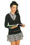 Beauty student girl with open notebook Stock Photography