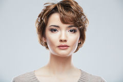 Beauty style close up portrait of young woman isol Royalty Free Stock Images