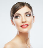 Beauty style close up woman face portrait isolated Royalty Free Stock Photography