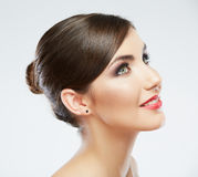 Beauty style close up woman face portrait isolated Stock Photo
