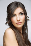 Beauty style face portrait of young woman looking side. Royalty Free Stock Image