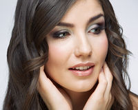 Beauty style face portrait of young woman looking side. Royalty Free Stock Images