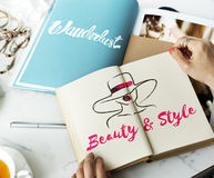 Beauty Style Girl Model Silhouette Text Concept Stock Photo