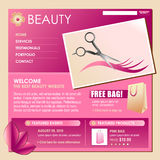 Beauty Style Hair Business Template. A pink and rose colored beauty style hair template for your business. Make your own business flyer or web template and Stock Photography