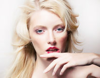 Beauty style - shiny model blonde girl face Stock Image
