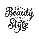 Beauty and style vector logo with hand lettering Royalty Free Stock Photography