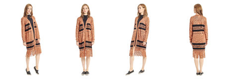 Beauty stylish brunette woman posing in ethnic cardigan isolated Royalty Free Stock Photo
