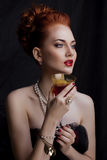 Beauty stylish redhead woman with hairstyle Royalty Free Stock Images