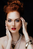 Beauty stylish redhead woman with hairstyle and Stock Images