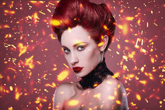 Beauty stylish redhead woman with hairstyle and necklace jewelry Stock Photo