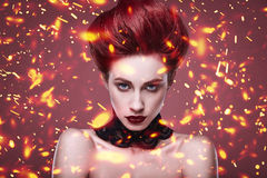 Beauty stylish redhead woman with hairstyle and necklace jewelry Royalty Free Stock Photos