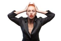 Beauty stylish redhead woman posing stock photo