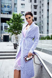 Beauty stylish business woman wear fashionable coat Royalty Free Stock Photo