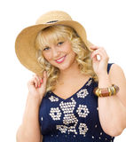 Beauty in the summer - cute girl wearing straw hat Royalty Free Stock Photos